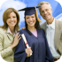 This image of a college graduate and her parents is a link that leads to the parent center.