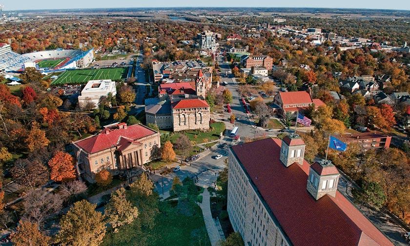 Aerial view of campus in autumn